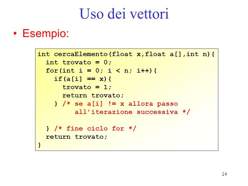 Uso dei vettori Esempio: int cercaElemento(float x,float a[],int n){